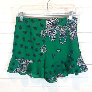 Zara Green & Blue Ruffled Shorts - Small